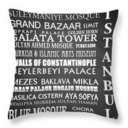 Istanbul Famous Landmarks Throw Pillow