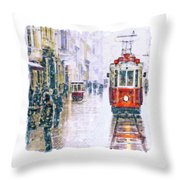 Istanbul Nostalgic Tramway Throw Pillow