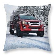 Isuzu In The Snow Throw Pillow