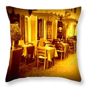 Italian Cafe In Golden Sepia Throw Pillow