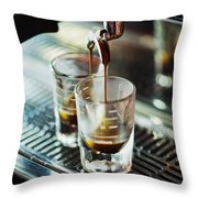 Italian Espresso Expresso Coffee Making Preparation With Machine Throw Pillow