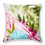 Italian Gelato Raspberry Ice Cream With Blue Umbrella Throw Pillow
