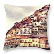 Italian Hillside Village Throw Pillow