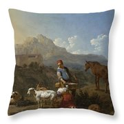 Italian Landscape With Girl Milking A Goat Throw Pillow