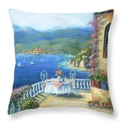 Italian Lunch On The Terrace Throw Pillow