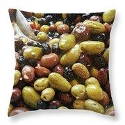 Italian Market Olives Throw Pillow