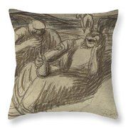Italian Peasants With Wine Flasks Throw Pillow