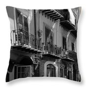 Italian Street In Black And White Throw Pillow by Stefano Senise