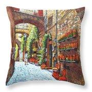 Italian Street Market Throw Pillow
