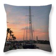 Italian Sunset And Sailboat Throw Pillow