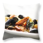 Italian Traditional Seafood Stew  Throw Pillow