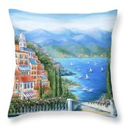 Italian Village By The Sea Throw Pillow