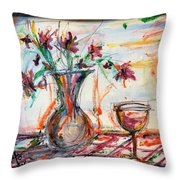 Italian Wine And Flower Vase On Table Throw Pillow