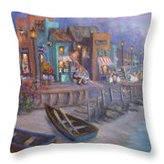 Italy Tuscan Decor Painting Seascape Village By The Sea Throw Pillow