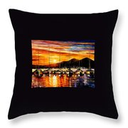 Italy - Naples Harbor- Vesuvius Throw Pillow
