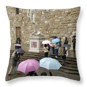 Italy, Florence, Piazza Della Signora Throw Pillow