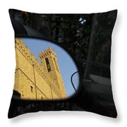 Italy, Florence, Reflection In Mirror Throw Pillow