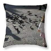 Italy, Florence, Young Girls Inspects Throw Pillow