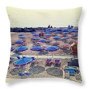Italy, Sanremo, The Beach. Throw Pillow