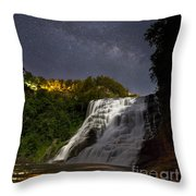 Ithaca Falls By Moonlight Throw Pillow
