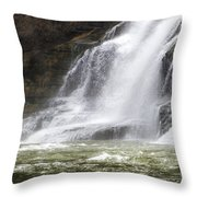 Ithaca Falls On Fall Creek - Mountain Showers Throw Pillow by Christina Rollo