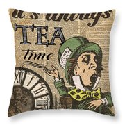 It's Always Tea Time Mad Hatter Dictionary Art Throw Pillow