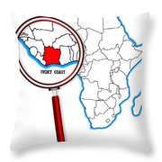 Ivory Coast Under A Magnifying Glass Throw Pillow
