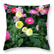 Ivory Tulips And Salmon Daisys Throw Pillow
