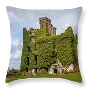 Ivy Covered Ruined Castle Ireland Throw Pillow