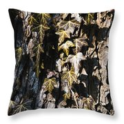 Ivy Leaves Grunge Tone Throw Pillow