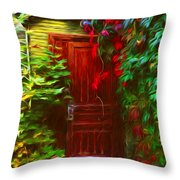 Ivy Surrounded Old Outhouse Throw Pillow