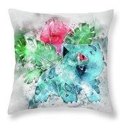 Pokemon Ivysaur Abstract Portrait - By Diana Van Throw Pillow