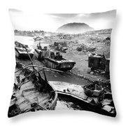 Iwo Jima Beach Throw Pillow