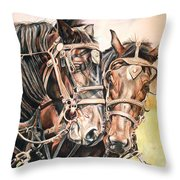 Jack And Joe Hard Workin Horses Throw Pillow
