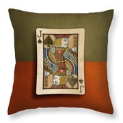 Jack Of Spades In Wood Throw Pillow