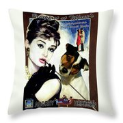 Jack Russell Terrier Art Canvas Print - Breakfast At Tiffany Movie Poster Throw Pillow