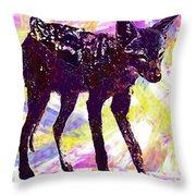 Jackal Children Watercolor Animal  Throw Pillow