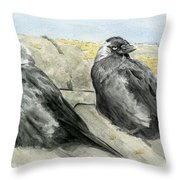 Jackdaws In The Sun Throw Pillow