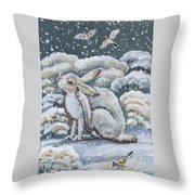 Jackrabbit And Horned Larks Throw Pillow