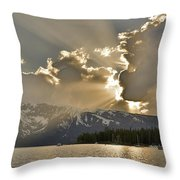 Jackson Lake Sunset View Throw Pillow