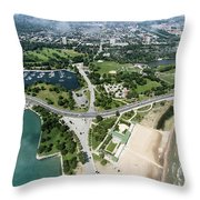 Jackson Park In Chicago Aerial Photo Throw Pillow