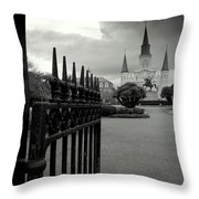 Jackson Square Gate With St. Louis Cathedral And Storm Clouds Throw Pillow