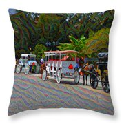 Jackson Square Horse And Buggies Throw Pillow