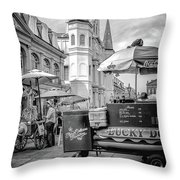 Jackson Square Scene New Orleans - Bw  Throw Pillow