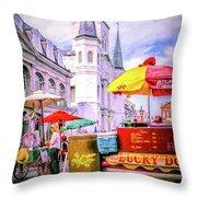 Jackson Square Scene - Painted - Nola Throw Pillow