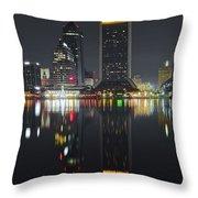 Jacksonville Black Night Lights Throw Pillow