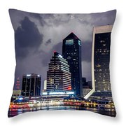 Jacksonville On A Stormy Evening Throw Pillow by J T