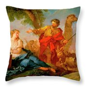 Jacob And Rachel Leaving The House Of Laban Throw Pillow