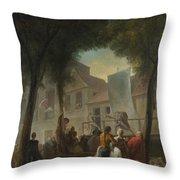 Jacques De Saint Aubin   A Street Show In Paris Throw Pillow