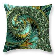 Jade And Yellow Fractal Spiral Throw Pillow